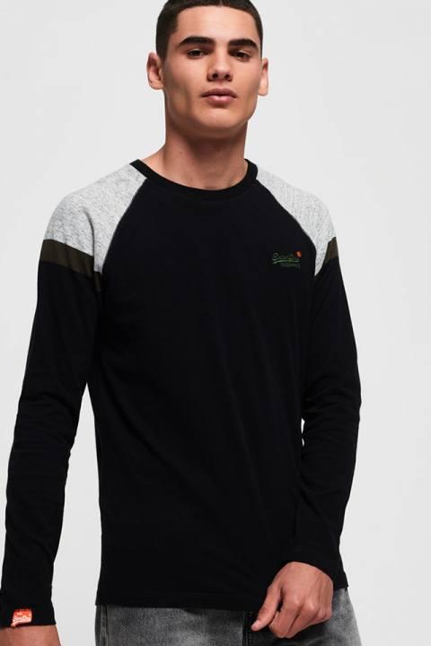 Superdry O L Eng'D Sleeve Baseball T-shirt Black