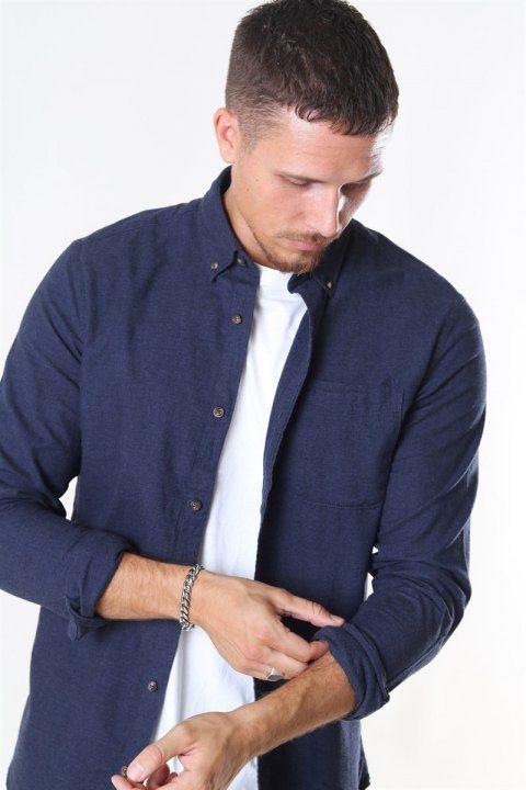 Jack & Jones Classic Melange Skjorte Navy Blazer