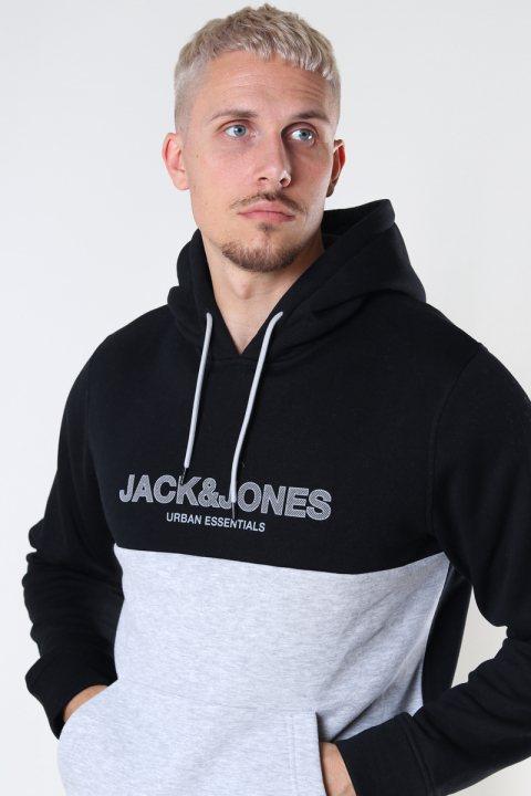 Jack & Jones JJEURBAN BLOCKING SWEAT HOOD NOOS Black White-Griffen Print/Regular Fit
