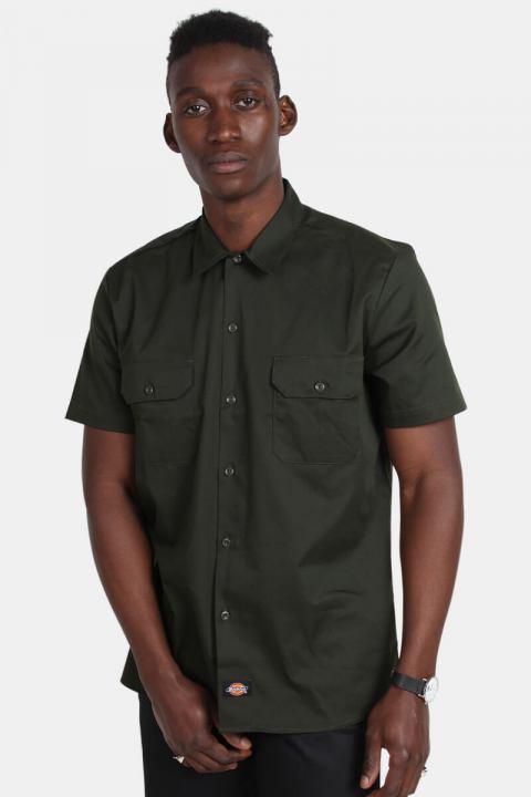 Køb Dickies S/S Slim Shirt Olive Green
