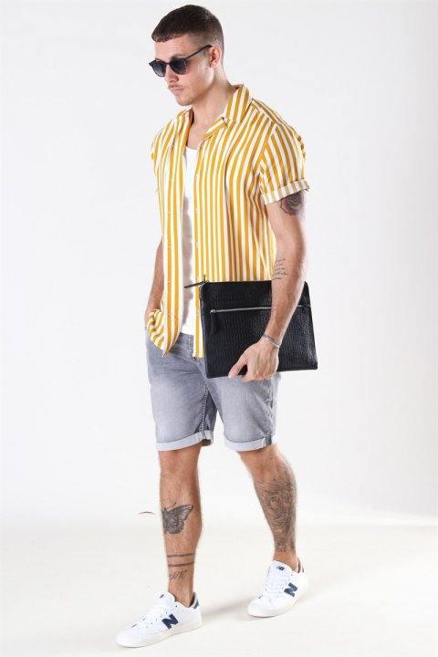 Only & Sons Wayne Striped Viscose Skjorte Golden Spice