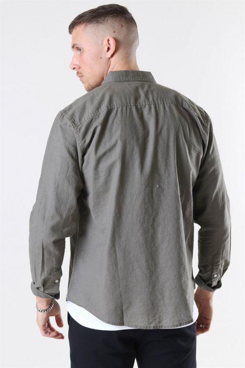 Clean Cut Cotton Linen Skjorte Dusty Green