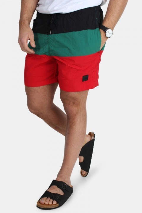 Urban Classics Color Block Badeshorts Firered/Black/Green