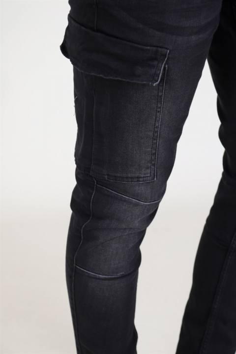 Liebhaveri Tobias Stretch Cargo Pants Black Washed