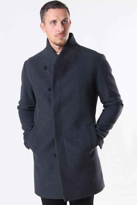 Jack & Jones Collum Wool Coat Dark Grey