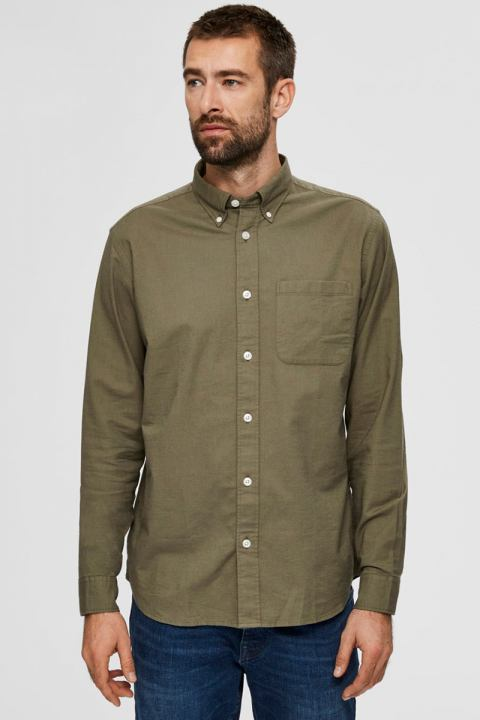 Selected SLHREGRICK-OX FLEX SHIRT LS S NOOS Aloe