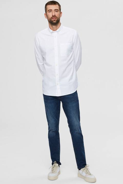 Selected SLHREGRICK-OX FLEX SHIRT LS S NOOS White