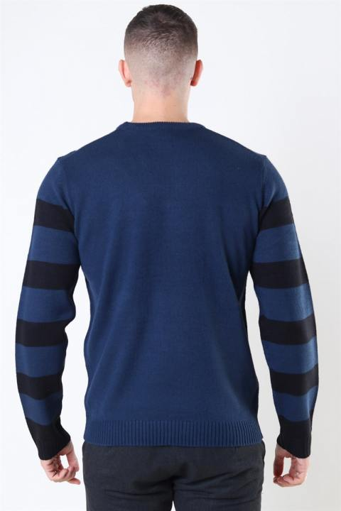 Only & Sons Xmas 7 Stripe Front Strik Dress Blues