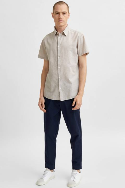 Selected SLHREGNEW-LINEN SHIRT SS CLASSIC W Crockery