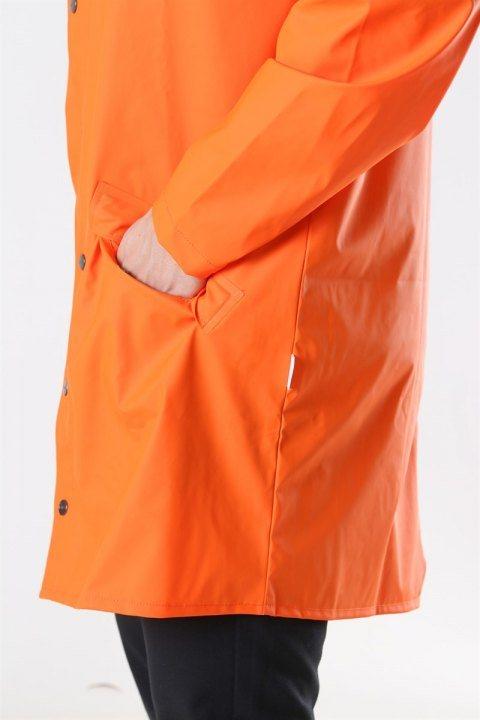 Rains Long Regnjakke Fire Orange