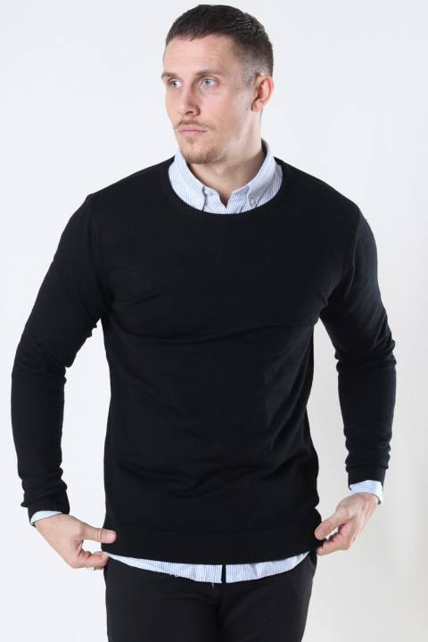 Clean Cut Merino Wool Crew Strik Black