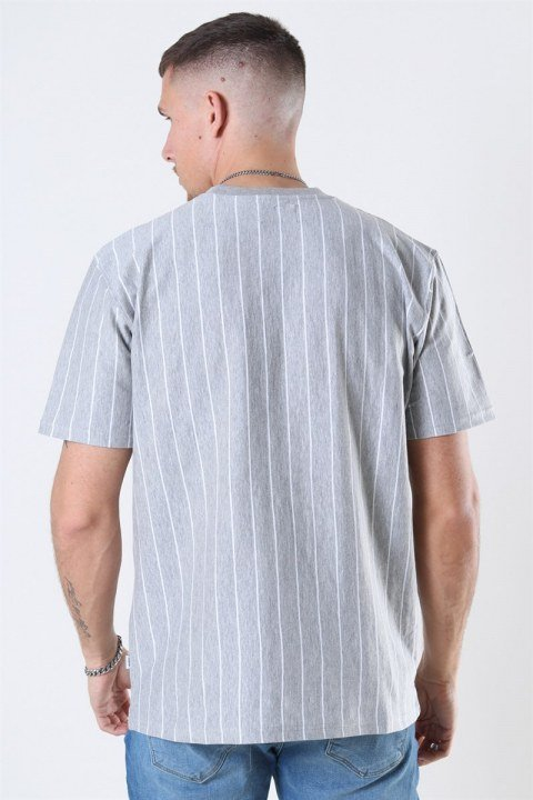 Woodbird Mello Stripe T-shirt Grey Melange