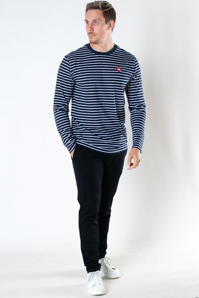 Kronstadt Timmi Organic/Recycled L/S stripe tee Navy / White