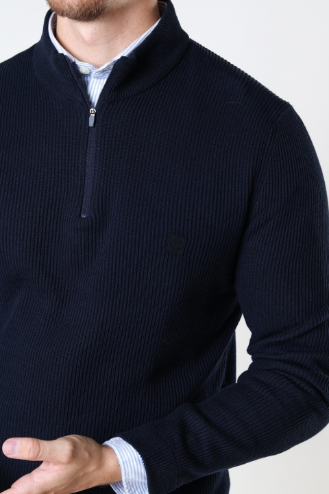 ONLY & SONS ONSWEB LIFE STRUCTURE HALF ZIP KNIT Dark Navy