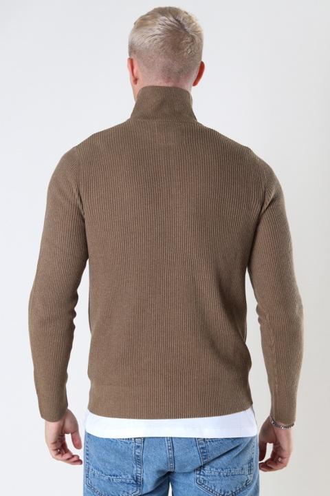 Jack & Jones JPRBLAPERFECT KNIT HIGH NECK ZIP SN Dark Coat Khaki