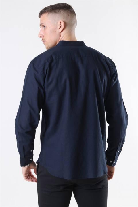 Clean Cut Cotton Linen Mao Skjorte Navy
