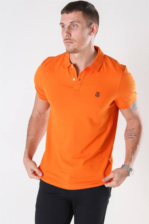 Selected Haro SS Embroidery Polo Russet Orange