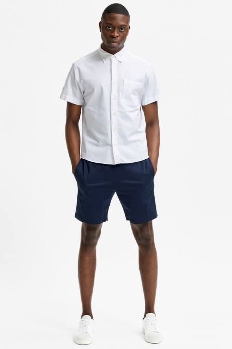 Selected SLHREGRICK-OX FLEX SHIRT SS W White