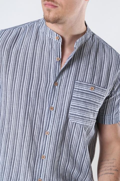 Kronstadt Johan striped henley  s/s shirt Navy