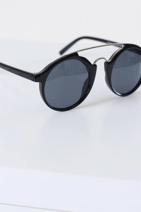Fashion Round Club Sort/Sølv Solbrille Grey Lens