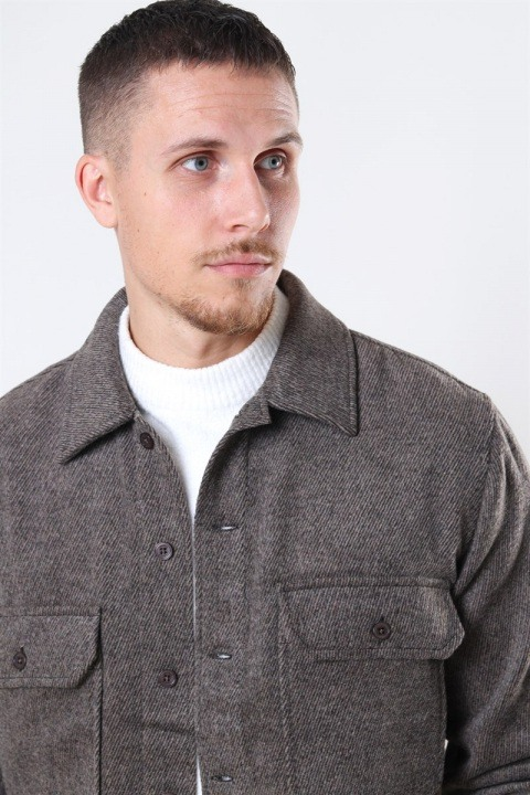 Woodbird Glixto Wool Overshirt Brown
