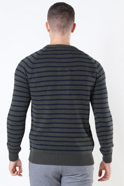 Kronstadt Liam Recycled Cotton Striped Strik Army Mel/Navy