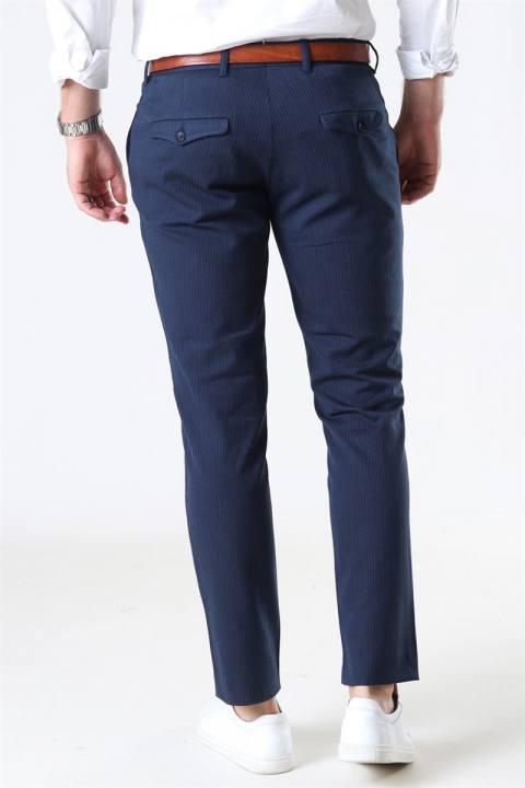 Selected Slim-Carlo Cotflex Pants Dark Navy/Herringbone