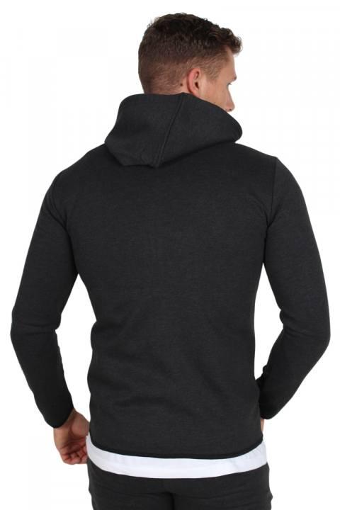 Only & Sons Vinn Zip Hood Sweat Dark Grey Melange