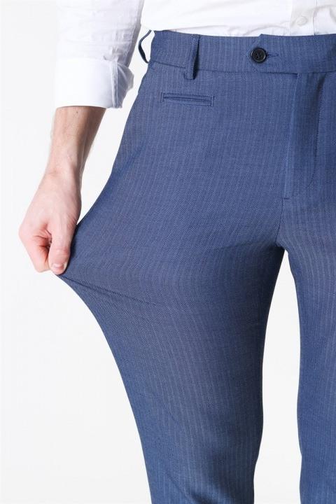 Les Deux Como Herringbone Suit Pants Dark Navy