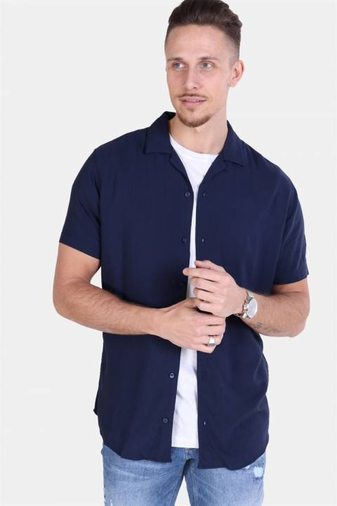 Jack & Jones Randy Resort Skjorte S/S Solid Navy Blazer