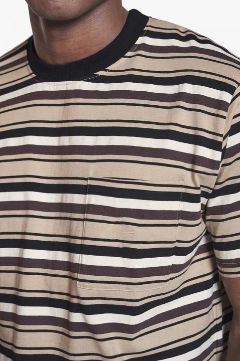 Woodbird Paul Stripe Tee Camel