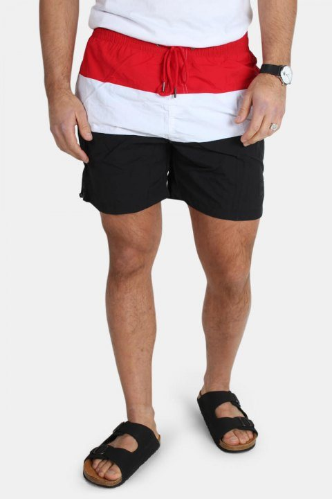Urban Classics Color Block Badeshorts Black/Firered/White