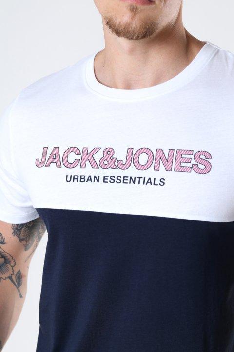 Jack & Jones JJEURBAN BLOCKING TEE SS O-NECK NOOS White Red Dhalia-Navy Print/Slim Fit