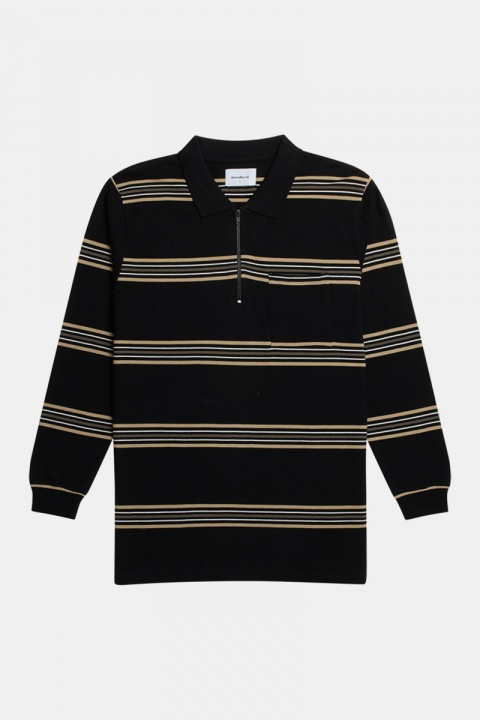 Woodbird Stona Stripe Polo Black