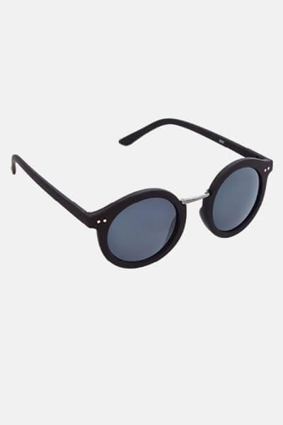 Køb Fashion 1517 Rund Solbrille Black Rubber/Gun Dark Grey Glass