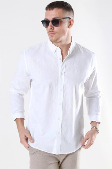 Køb Clean Cut Cotton Linen Skjorte White