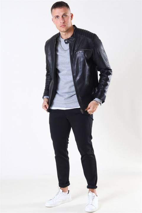 Only & Sons Fonda Leather Jacket Black