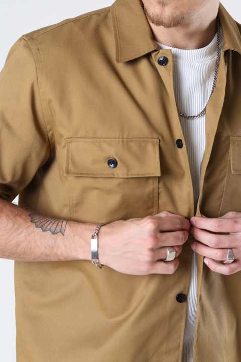 ONLY & SONS ONSNOAR COMPACT SS TC TWILL OVERSHIRT Chinchilla