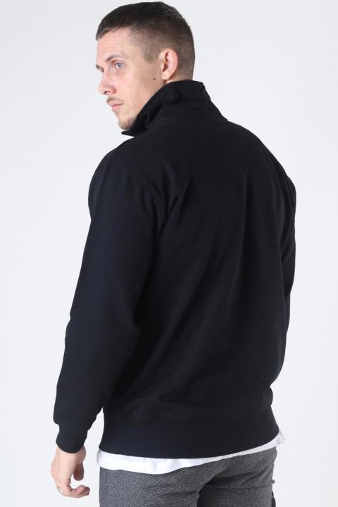 Basic Brand Quarter Zip Sweat Black