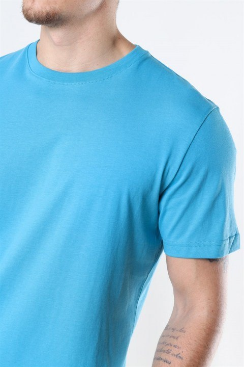 Selected Norman 180 SS O-Neck T-shirt Bluejay