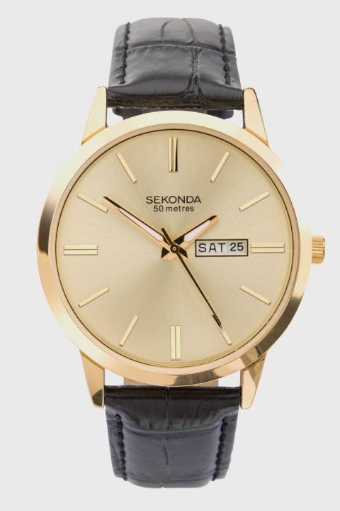 Køb Sekonda 1838 Classic Leather Ur Black/Gold