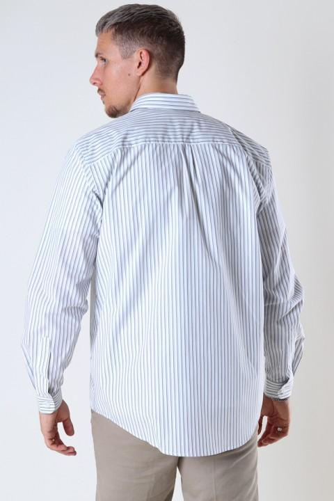 Woodbird Fling stripe Shirt Light Grey