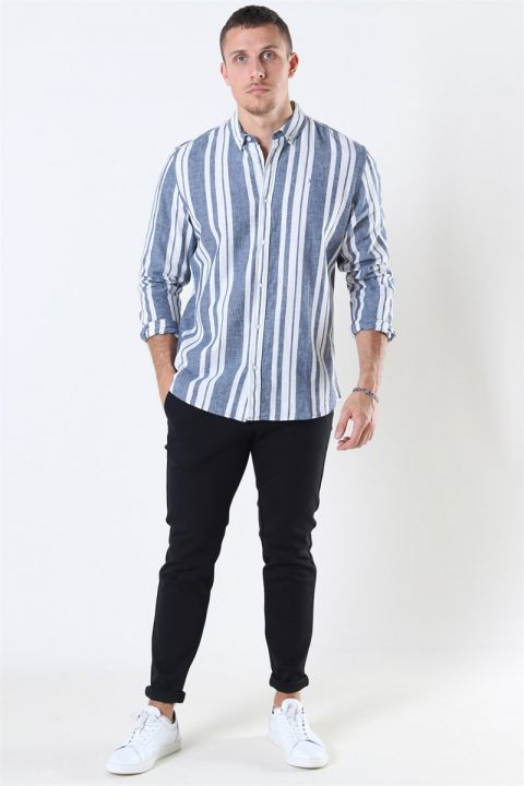 Clean Cut Sälen 146 LS Skjorte Blue/Off White