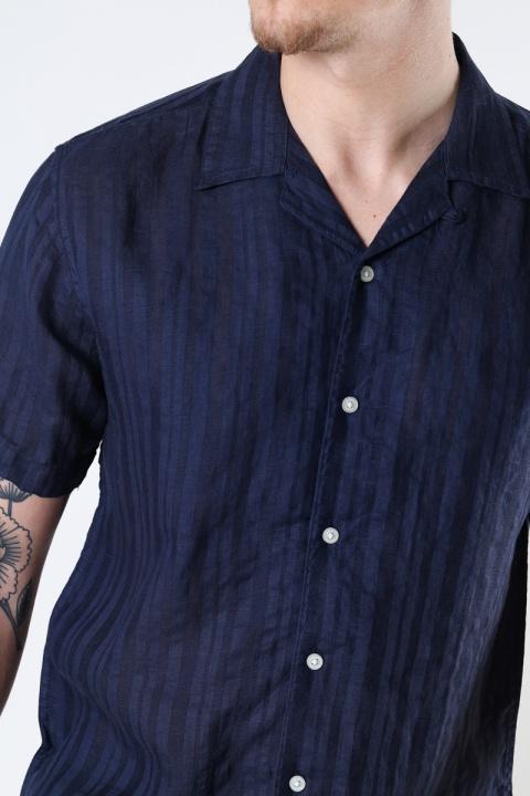 Kronstadt Cuba Linen striped shirt Navy