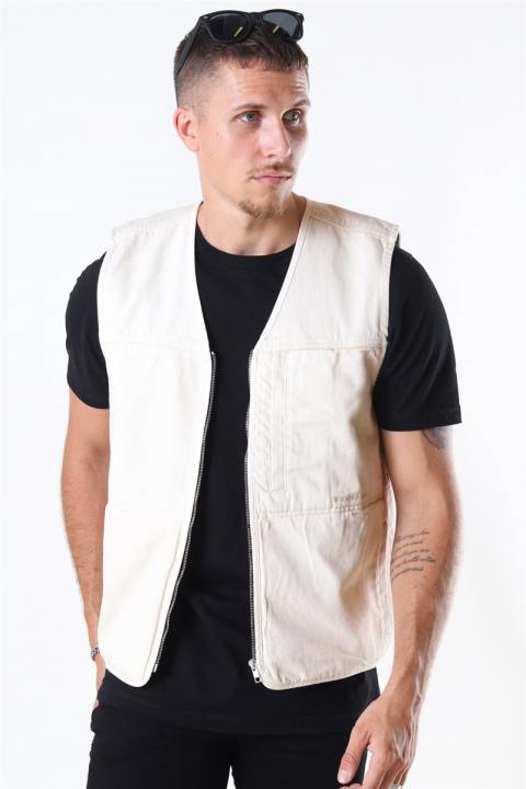 Woodbird Zlick Twill Vest Off White