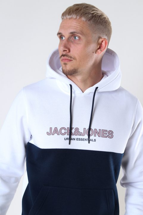 Jack & Jones JJEURBAN BLOCKING SWEAT HOOD NOOS White Red Dahlia-Navy Print/Regular Fit