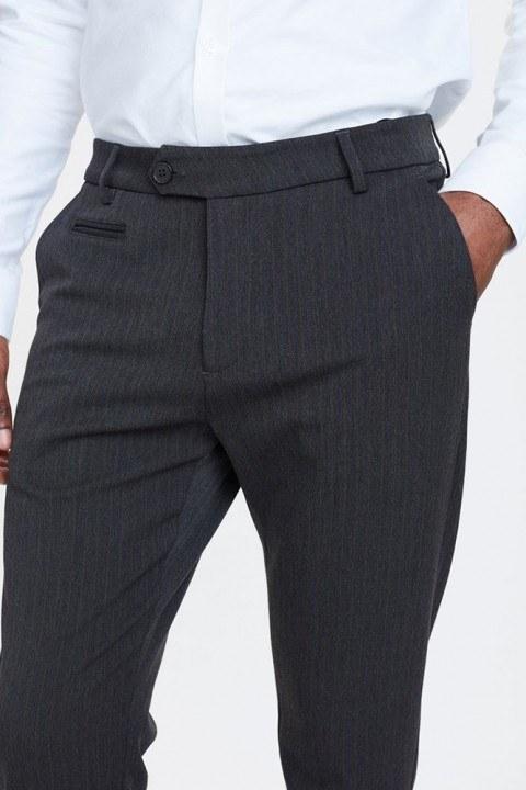 Les Deux Como Pinstripe Suit Pants Charcoal/Olive Green