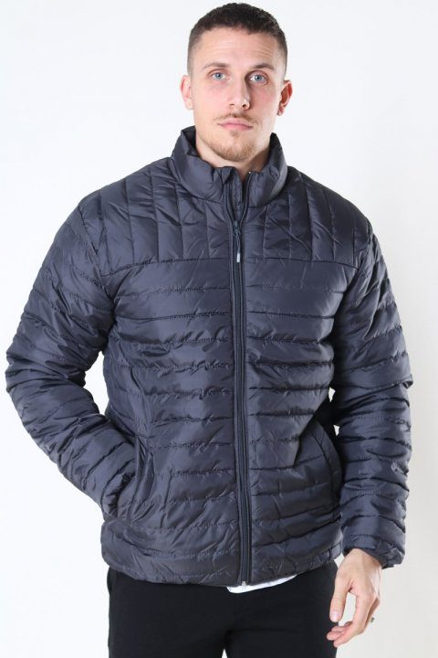 Only & Sons Paul Quilted Highneck Jakke Grey Pinstripe