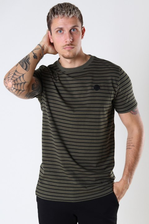Kronstadt Timmi Organic/Recycled striped tee Army / Black