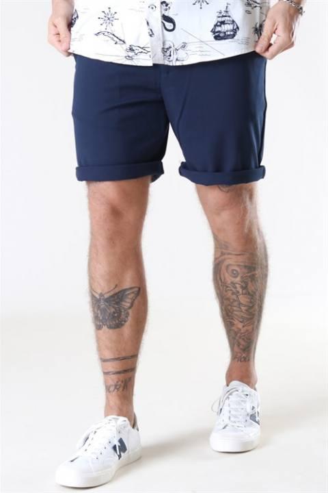 Woodbird Steffen Twill Shorts Midnight Blue